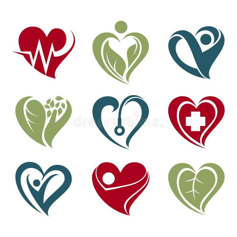 Sistema simple del icono del símbolo de la atención sanitaria del amor del corazón ilustración del vector