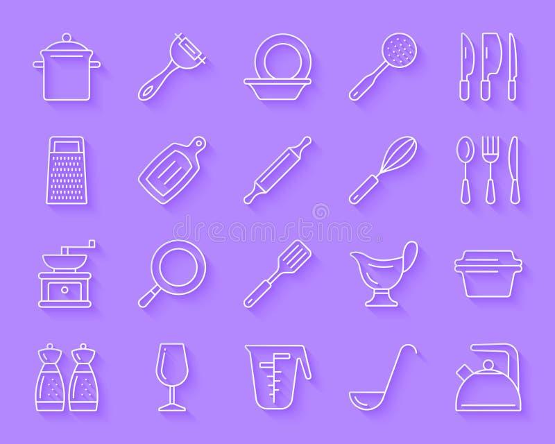 Sistema simple del vector de los iconos del corte del papel del artículos de cocina stock de ilustración