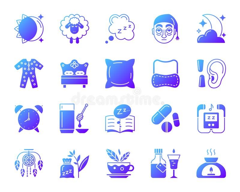 Sistema simple del vector de los iconos de la pendiente del insomnio libre illustration