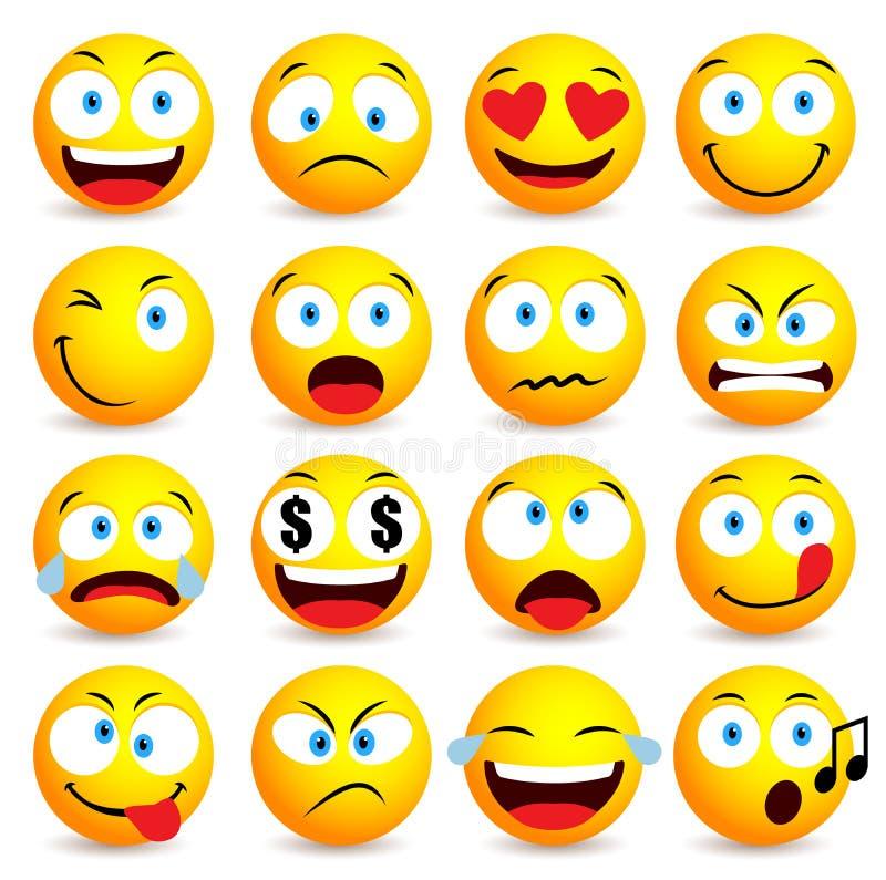 Sistema simple sonriente de la cara y del emoticon con expresiones faciales ilustración del vector