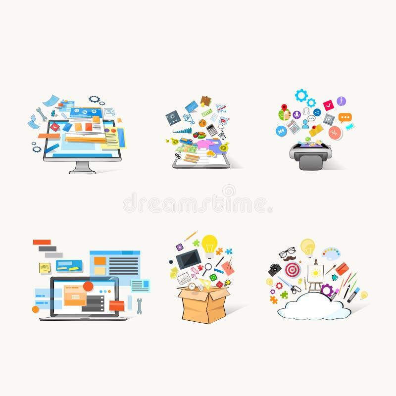 Sistema social de la comunicación de la red de la tecnología de la nube del ordenador portátil del dispositivo moderno de la tabl libre illustration