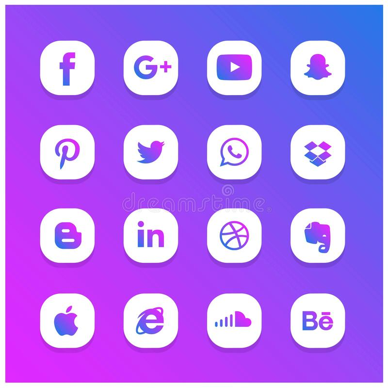 Sistema social del icono de la red del extracto que brilla intensamente azul y púrpura stock de ilustración