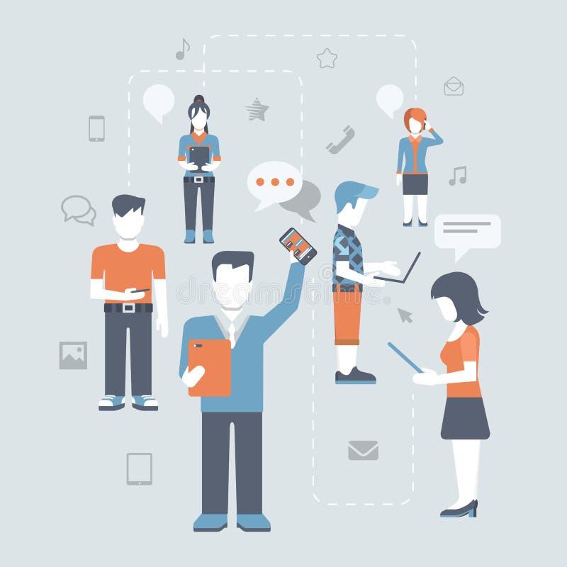 Sistema social en línea del icono del concepto de las comunicaciones de la gente plana medios ilustración del vector