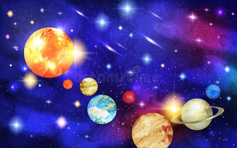 Sistema Solar con las estrellas y los cometas con las colas stock de ilustración