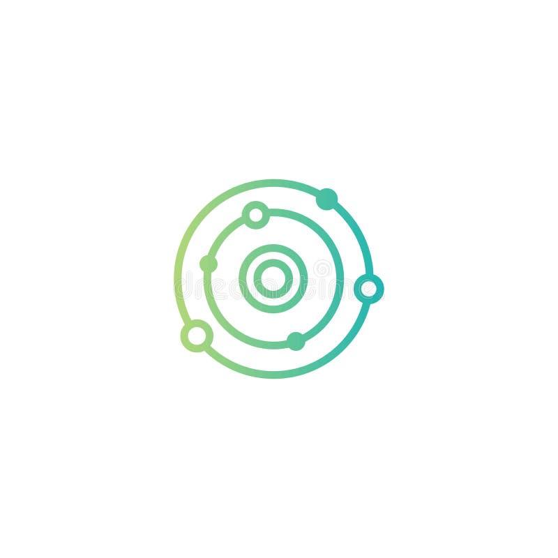 Sistema Solar Cosmos, universo, muestra del espacio L?nea icono de la conexi?n de red del eje aislado en blanco stock de ilustración