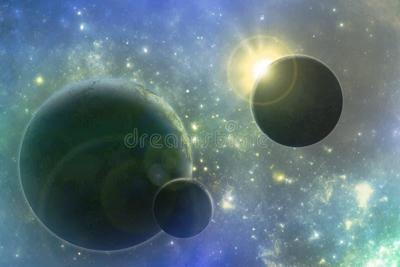 Sistema solar da fantasia, scifi ilustração royalty free