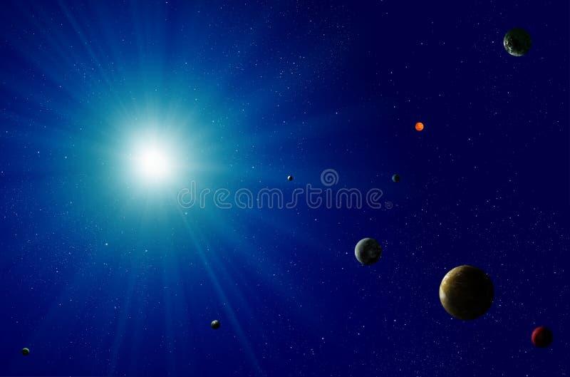 Sistema solar de estrela azul ilustração do vetor