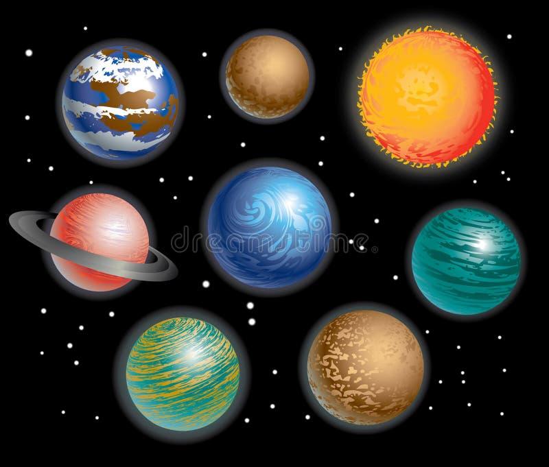 Sistema Solar de los planetas stock de ilustración