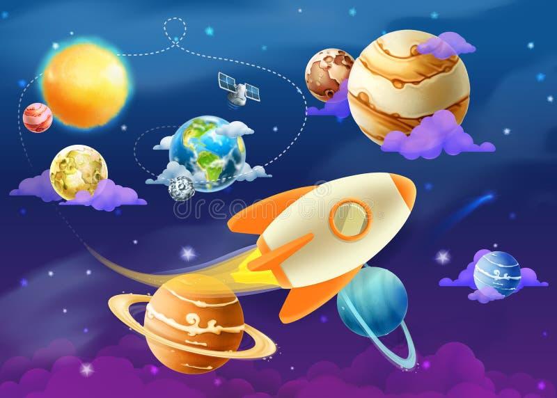 Sistema solar de planetas ilustração royalty free