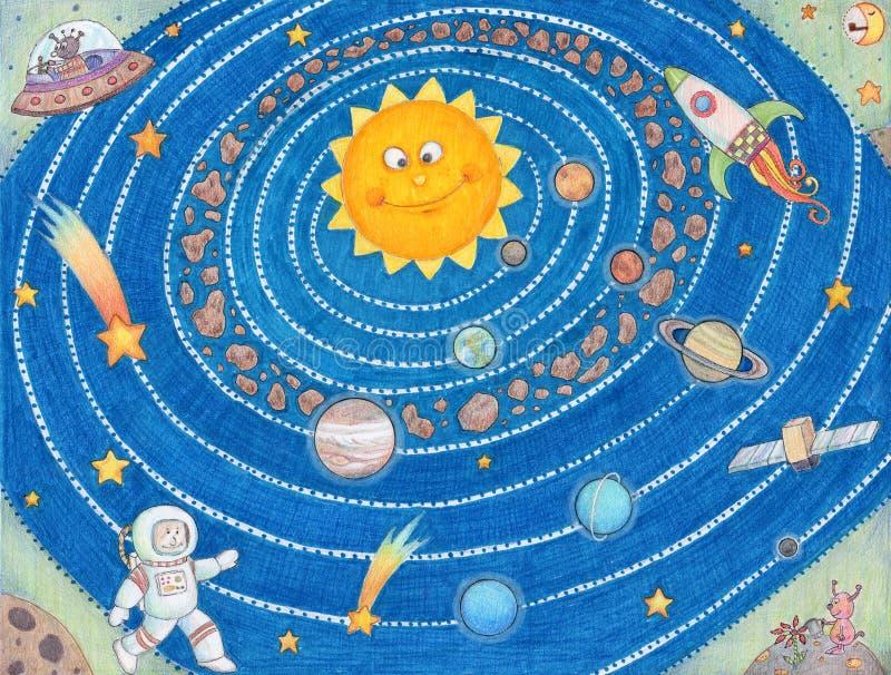 Sistema Solar para los niños. imágenes de archivo libres de regalías