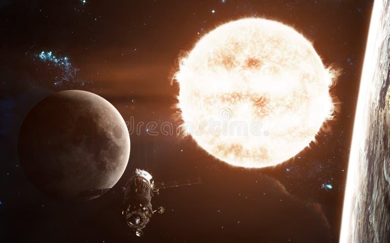 Sistema solar Sun, lua, terra e estação espacial Arte da ficção científica Os elementos da imagem foram fornecidos pela NASA foto de stock royalty free