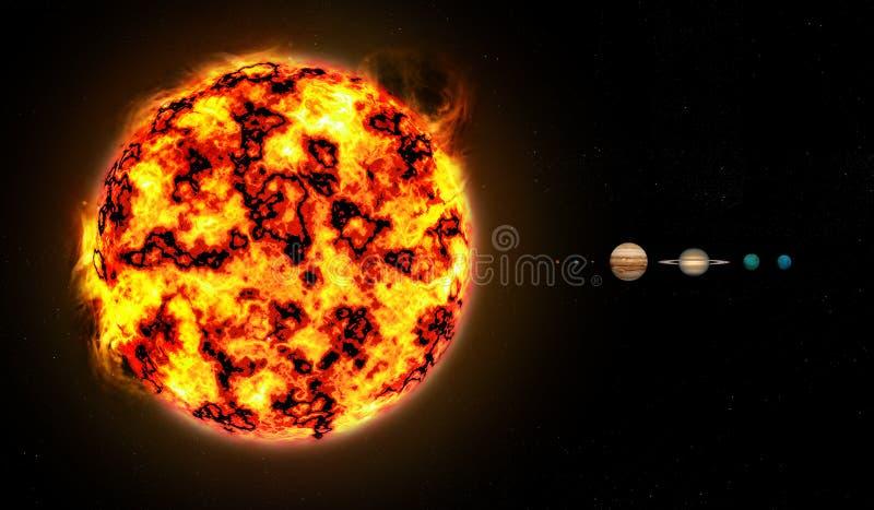 Sistema solare da riportare in scala illustrazione di stock