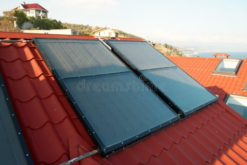Sistema solare di energia alternativa fotografia stock