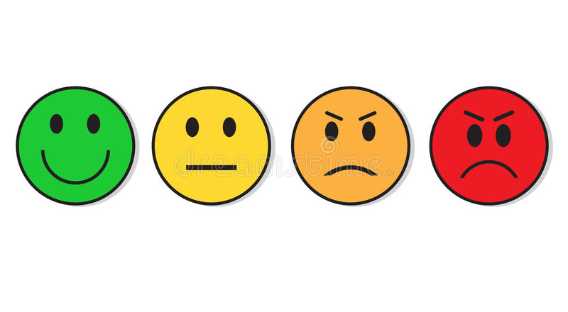 Sistema sonriente del positivo de la evaluación de la cara y del icono de la emoción del voto negativo ilustración del vector