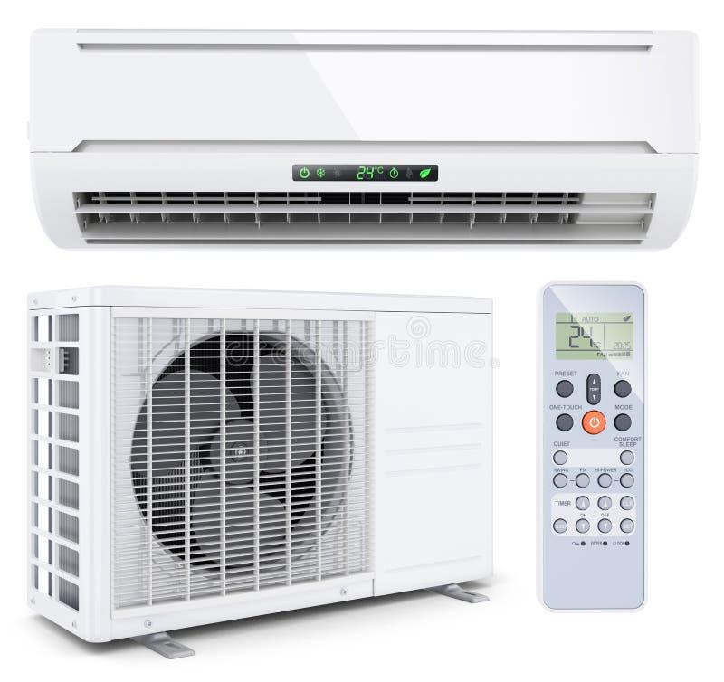 Sistema spaccato del condizionatore d'aria con il regolatore a distanza illustrazione di stock