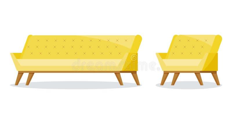 Sistema suave del icono del sofá y de la butaca del color amarillo aislado en el fondo blanco stock de ilustración