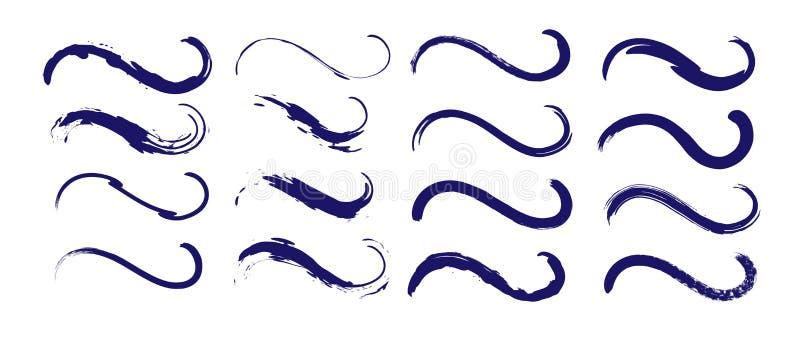 Sistema sucio de los movimientos del cepillo de la onda negra El Grunge curvó la tinta exhausta de la mano, líneas de la acuarela ilustración del vector