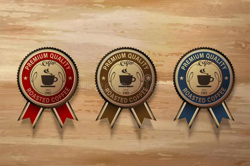 Sistema superior de la insignia del café ilustración del vector