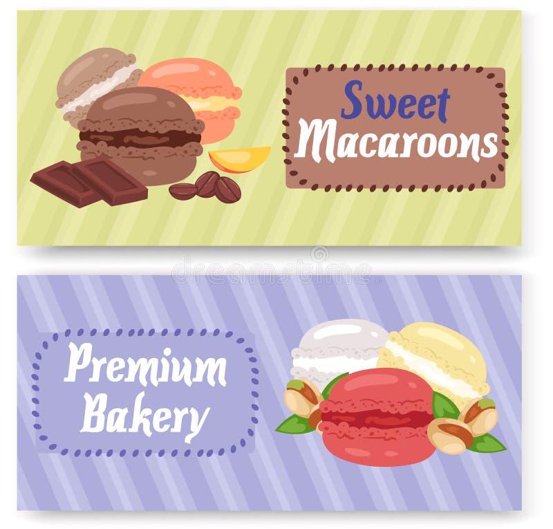 Sistema superior de la tienda de la panadería de los macarrones dulces del ejemplo del vector de las banderas Galletas de diverso stock de ilustración