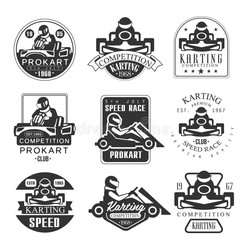 Sistema superior del club de la competencia de Procart de la calidad de emblemas blancos y negros con competir con siluetas del c stock de ilustración