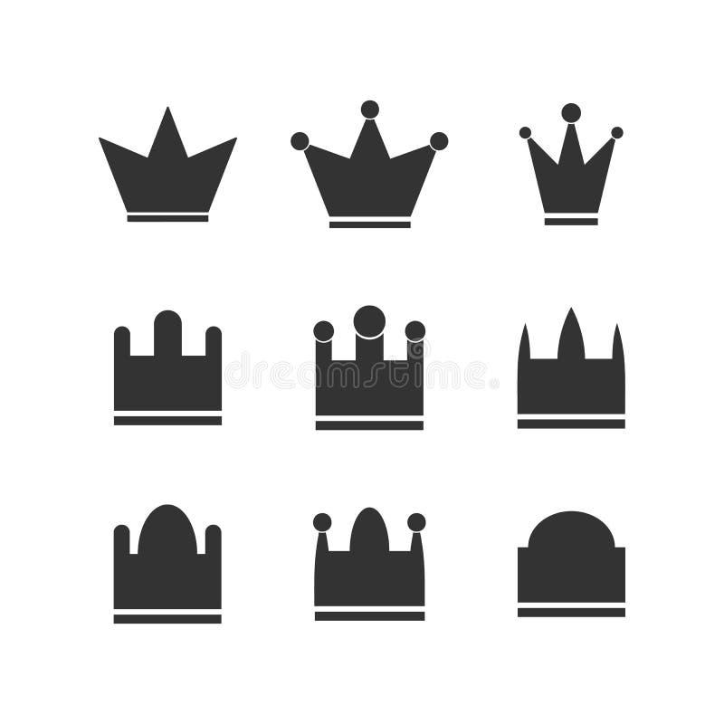 Sistema superior del icono de las coronas de la fila ilustración del vector