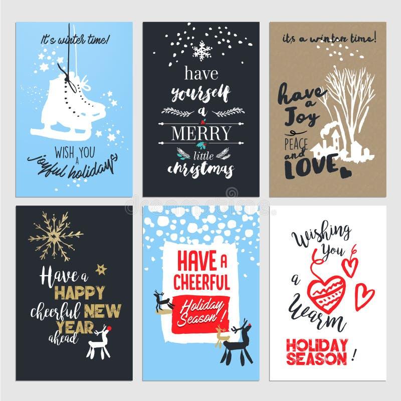 Sistema tarjetas de felicitación de la Navidad dibujada mano y del Año Nuevo ilustración del vector