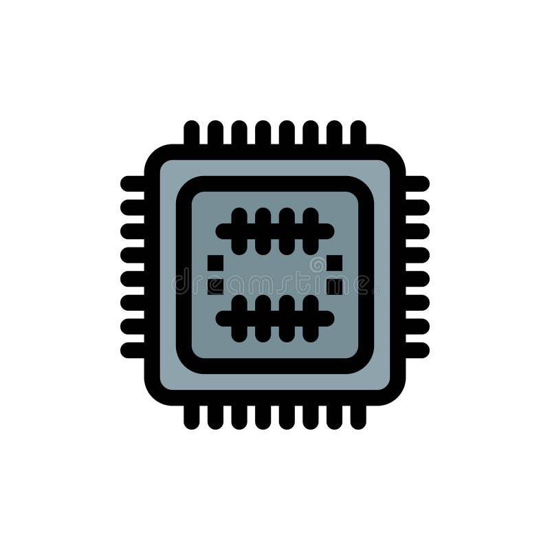 Sistema, tecnología, tecnología, icono plano del color de la CPU Plantilla de la bandera del icono del vector stock de ilustración