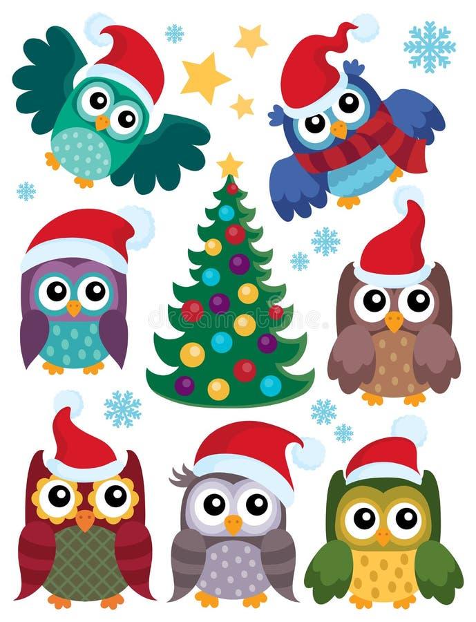 Sistema temático 1 de los búhos de la Navidad ilustración del vector