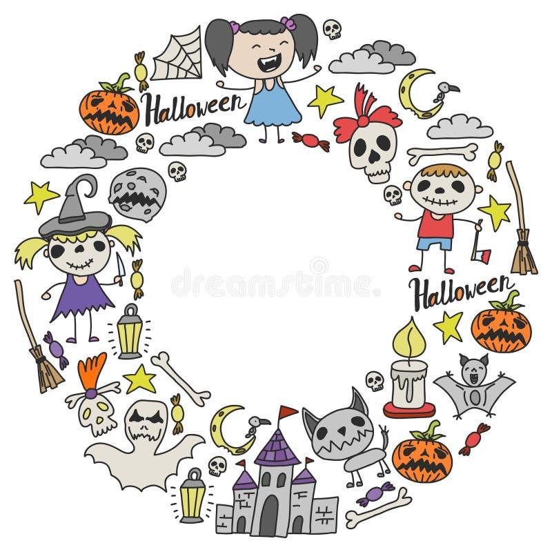 Sistema temático del garabato de Halloween Los símbolos tradicionales y populares - talló la calabaza, trajes del partido, brujas stock de ilustración
