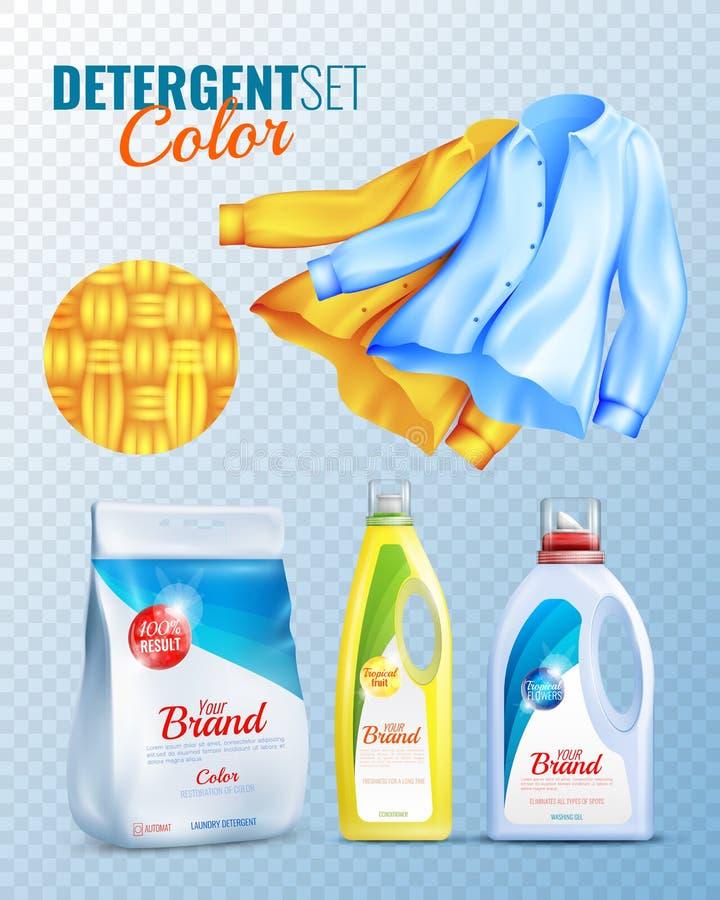 Sistema transparente del icono de la ropa de los detergentes stock de ilustración