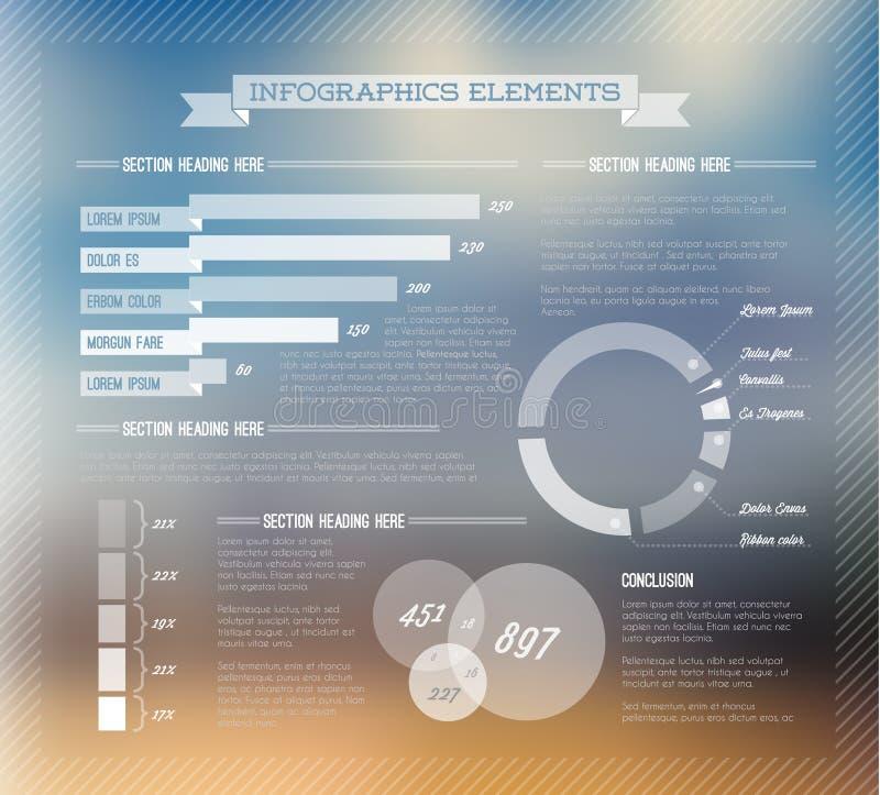 Sistema transparente del vector de los elementos de Infographic stock de ilustración