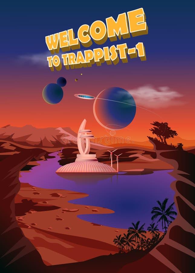Sistema Trappist-1 Exoplanets Espace a paisagem, a colonização dos planetas Ilustração do vetor ilustração do vetor