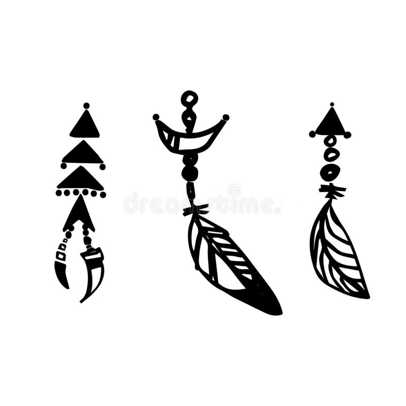 Sistema tribal de la decoración de las plumas de Boho Ejemplo negro exhausto del vector de la tinta de la mano stock de ilustración