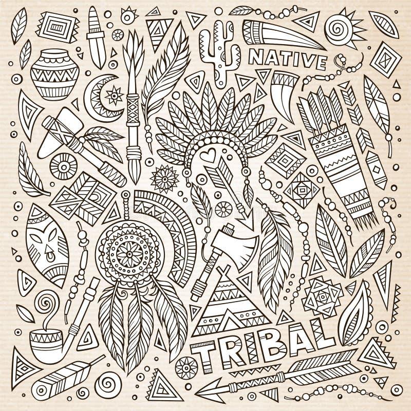 Sistema tribal del bosquejo del nativo americano de símbolos ilustración del vector