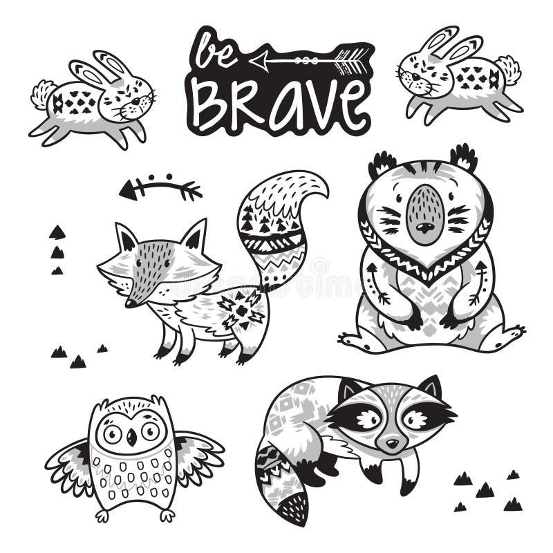 Sistema tribal del vector de los animales del bosque Ejemplo blanco y negro ilustración del vector