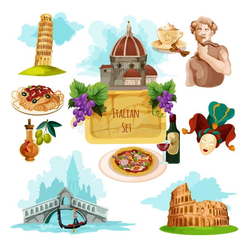 Sistema turístico de Italia stock de ilustración