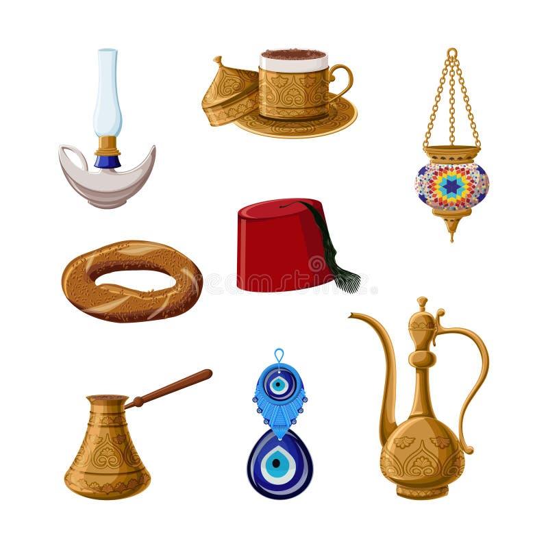 Sistema turco del icono de la herencia, parte 1 Lámpara de Alladin, taza de café de cobre amarillo, cezve, caldera, linterna, Fes ilustración del vector