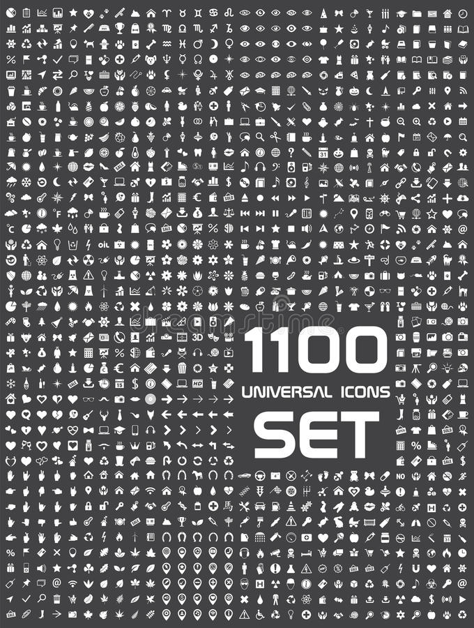 Sistema universal de 1100 iconos libre illustration