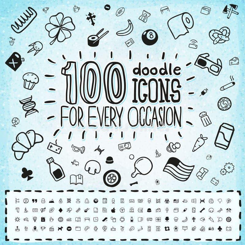 Sistema universal de 100 iconos del garabato stock de ilustración