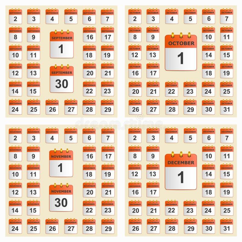 Sistema universal del calendario de pared de septiembre a diciembre libre illustration