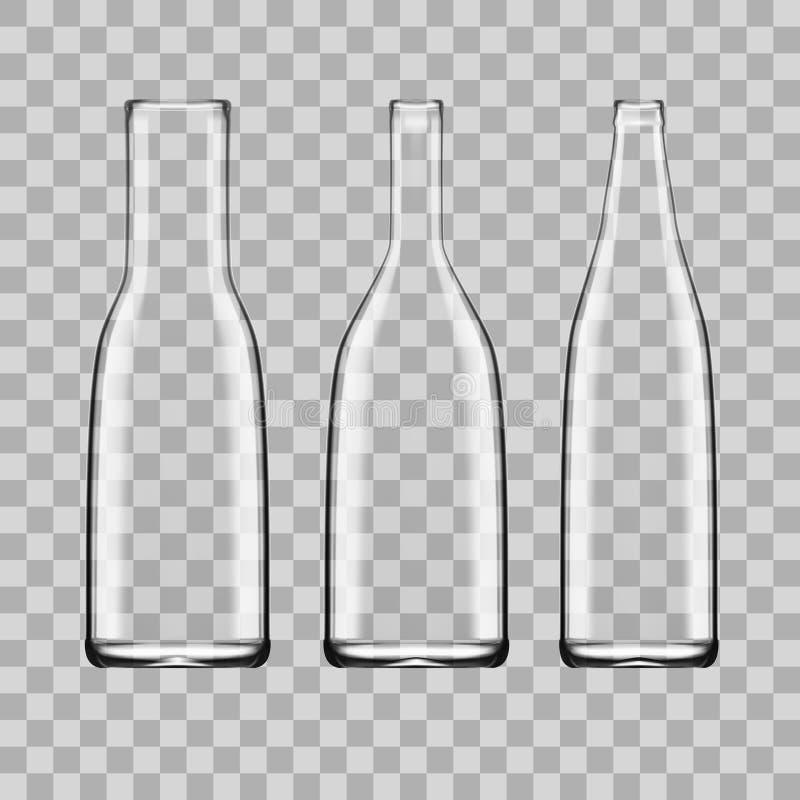 Sistema vacío blanco transparente de la botella de cristal stock de ilustración