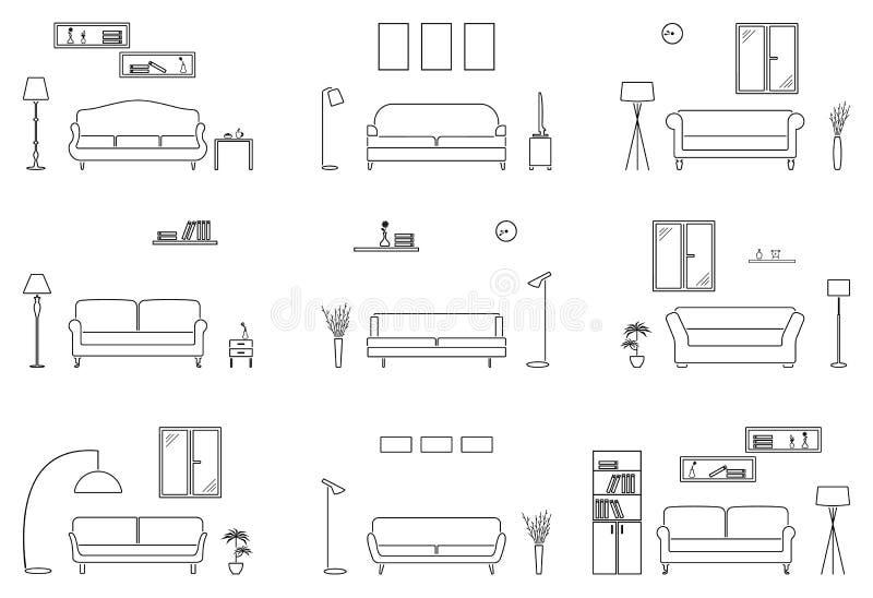 Sistema vacío del icono de la sala de estar Resuma el fondo de la silueta de los muebles ilustración del vector