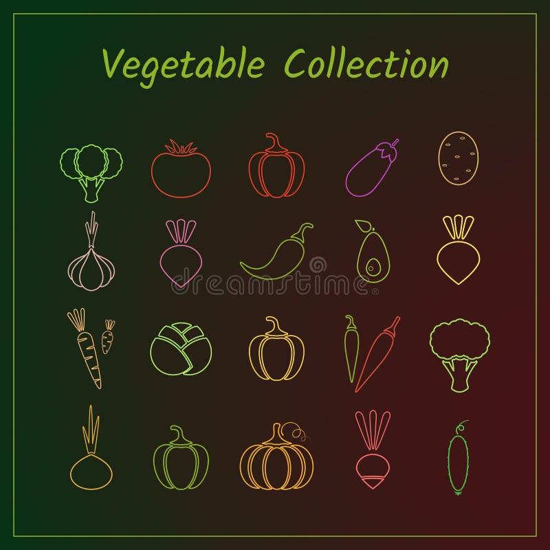 Sistema vegetal del icono del esquema colorido aislado ilustración del vector