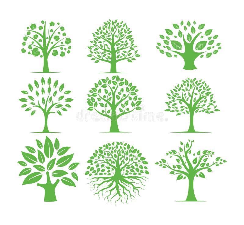 sistema verde del diseño del logotipo del vector del árbol de la silueta imagenes de archivo