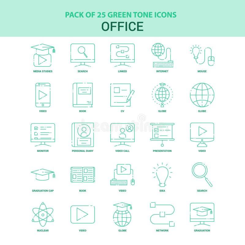 Sistema verde del icono de la oficina 25 libre illustration