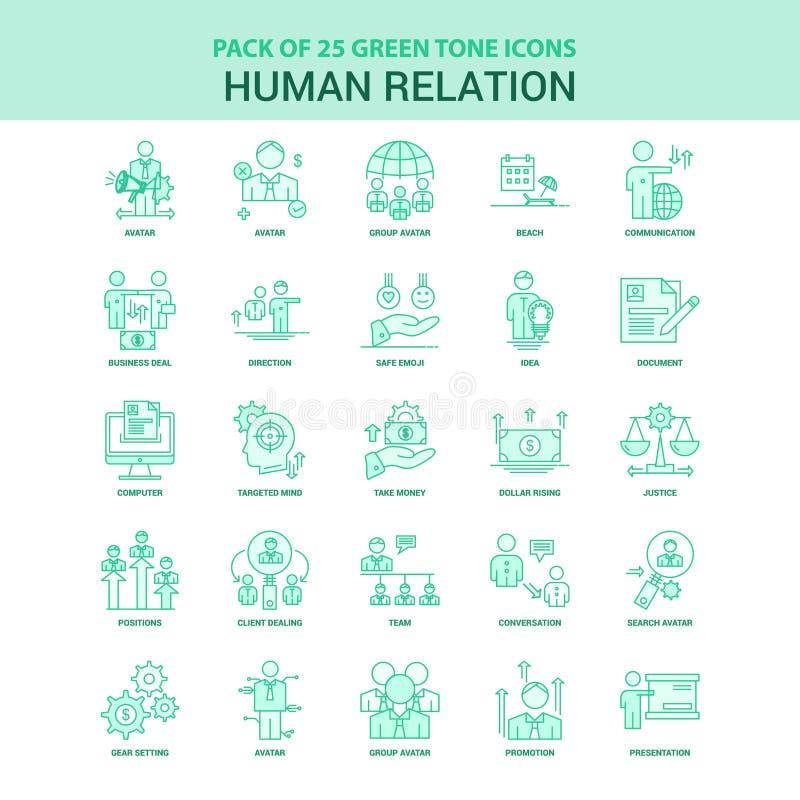 Sistema verde del icono de la relación humana 25 ilustración del vector