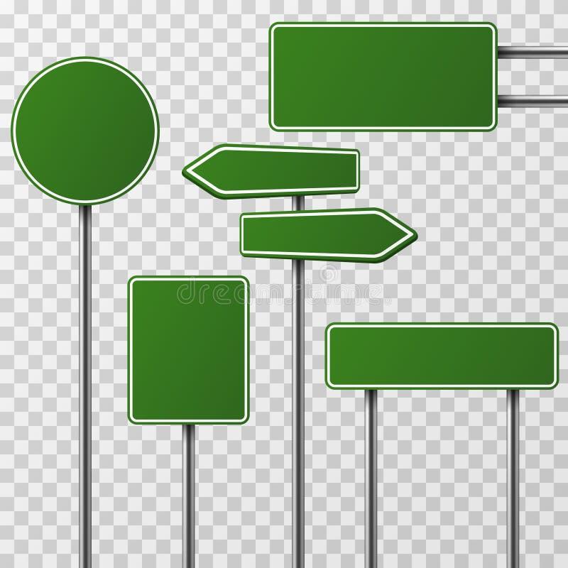 Sistema verde en blanco realista del vector de la calle y de las señales de tráfico stock de ilustración