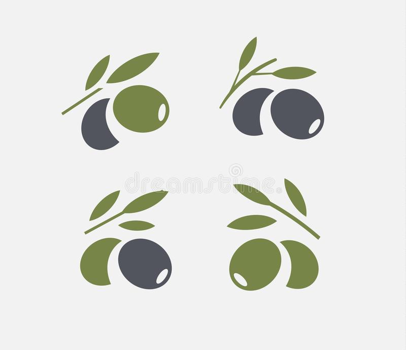 Sistema verde oliva del logotipo Rama de olivo madura y verde negra con las hojas Emblemas de la comida gastrónoma Diseño simple  libre illustration