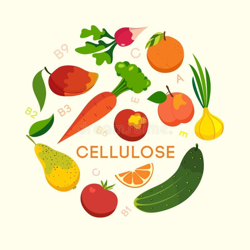Sistema, verduras y frutas sanos de la consumición stock de ilustración