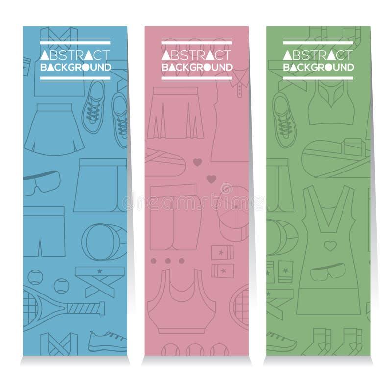 Sistema vertical de la bandera de tres engranajes gráficos del tenis de las hembras stock de ilustración